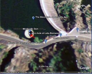 Hole(Spillway) in Monticello Dam in california google earth picture gallery