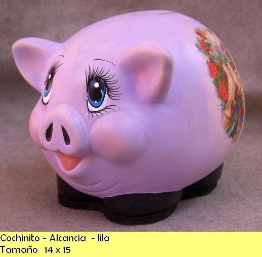 Cer mica walla 39 s pintada a mano cochinito alcancia lila - Como pintar azulejos a mano ...