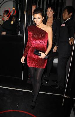 Kardashian  Dress on Who Wore That  Kim Kardashian Wears One Shoulder Red Leopard Dress