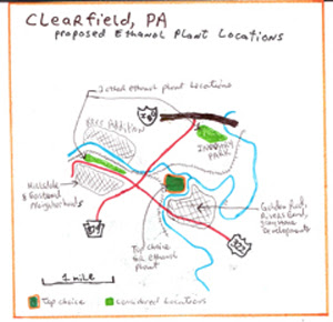 ethanol plant proposed location Clearfield, PA