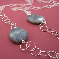Circle and Stone Sterling Silver Faceted Labradorite Long Necklace