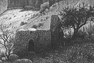 old Biblical print of tomb