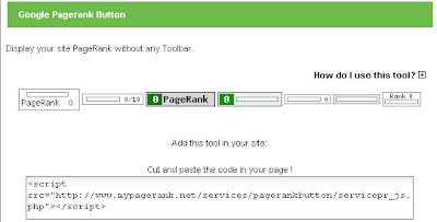 pasang widget pagerank