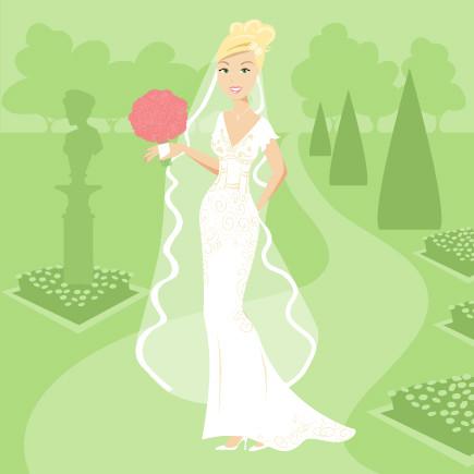 Eu de vestido de noiva