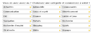 Categories site Internet de l'Année 2007