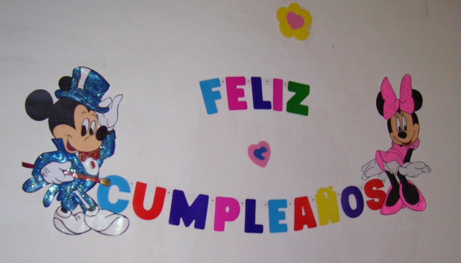 Cartel en Cartón pintado para cumpleaños, tema Mickey y Minnie