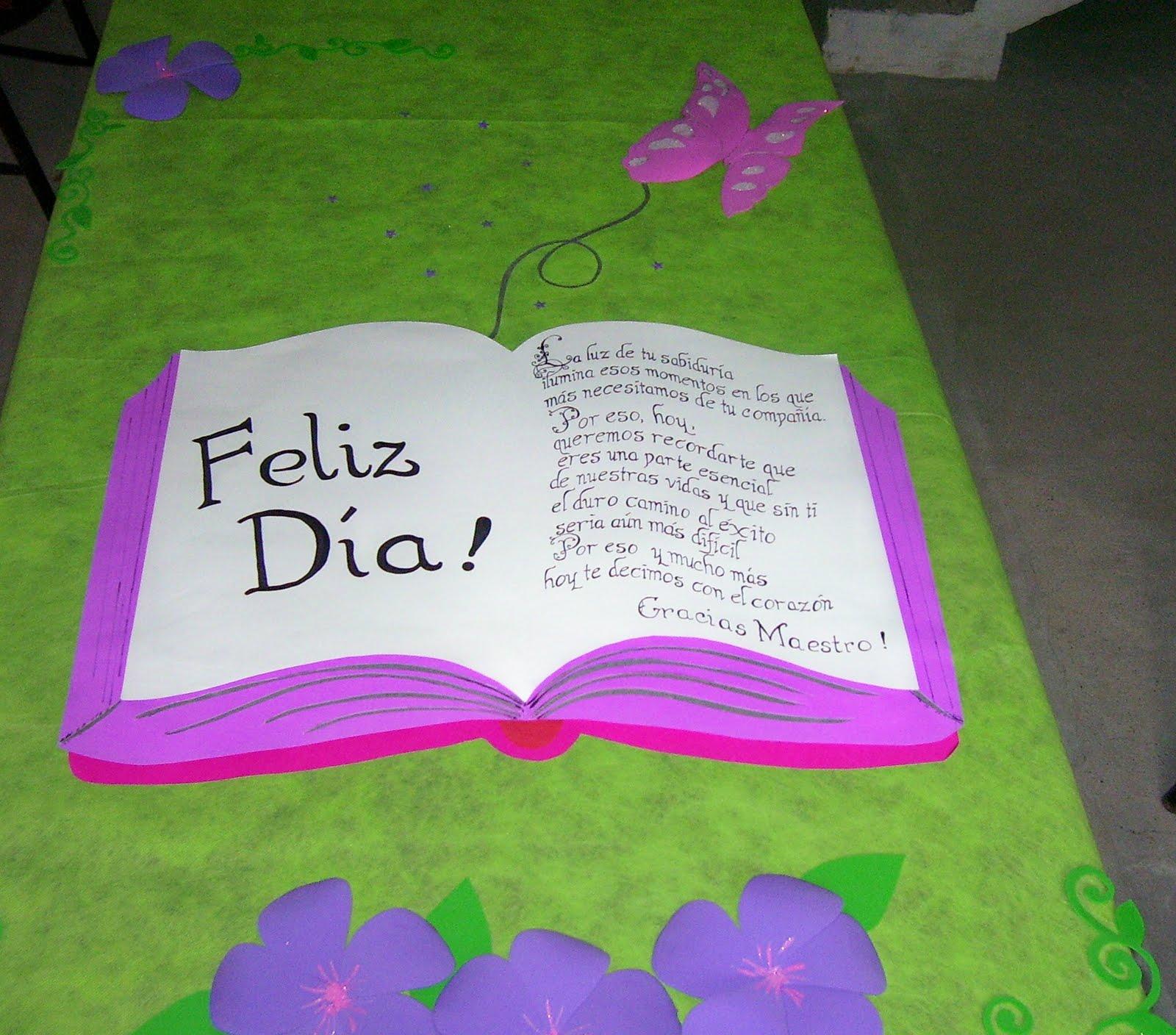 cartelera dia del maestro libro en cartulina con flores y mariposa en ...