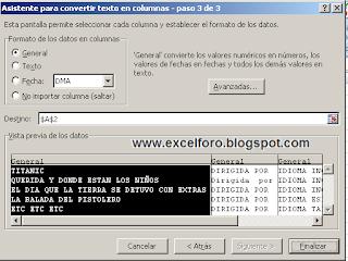 La herramienta de Excel Texto en columnas.