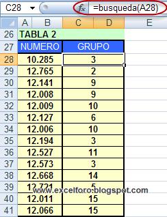 Buscar valores en una matriz de Excel.