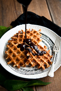 Orange cinnamon Belgian waffles with dark chocolate hot fudge from Desserts for Breakfast
