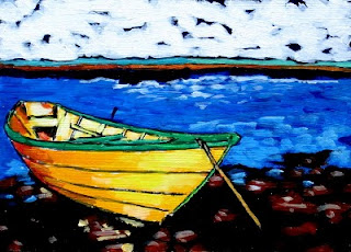 original painting boat on shore by bruce docker