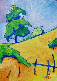 original painting landscape with trees and fence bruce docker