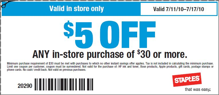 Printable staples coupons 25 off 75