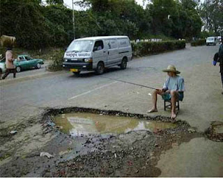 Fishing in highway