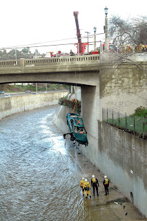 Vehicle Recovered from Arroyo Seco. © Photo by Mike Meadows. Click to view more...