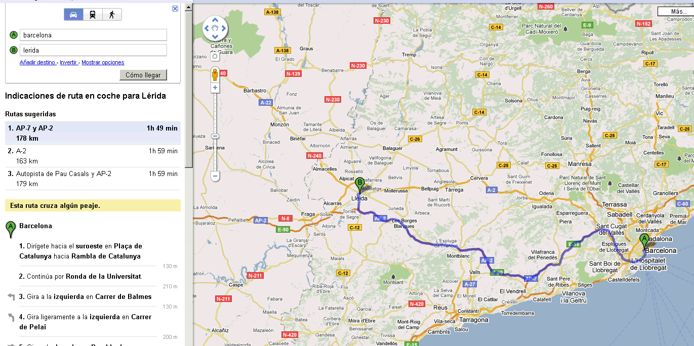 simple do you know what is the distance between barcelona and lerida 160 km take a look at the map below
