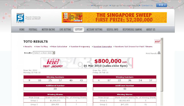 ... .com.sg/Lottery – Singapore Pools Sweep Lottery – TOTO 4D Results
