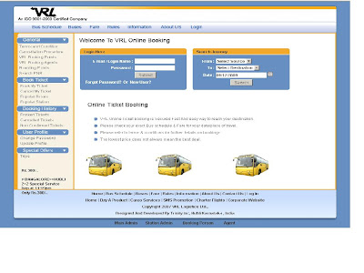VRL : Online Booking & Bus Schedule at www.vrllogistics.in