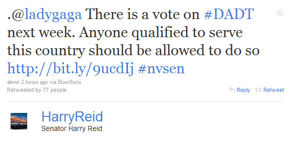 Lady Gaga & Sen. Harry Reid Exchange Tweets About Repeal Of DADT