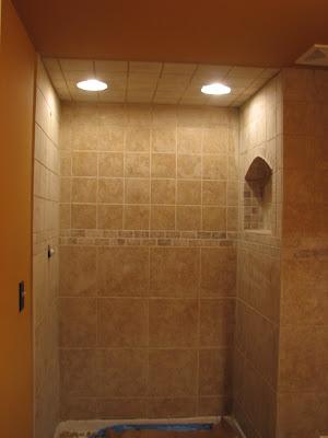 Absolute Finishing Home Basement Shower Tile - 6x6 tiles in shower