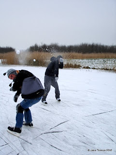 snowball fight frozen canals Netherlands