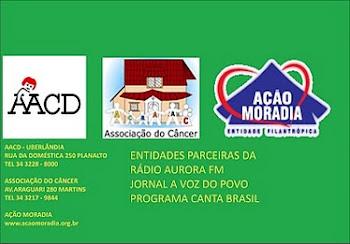 ENTIDADES PARCEIRAS DA RÁDIO AURORA FM E DO JORNAL A VOZ DO POVO