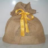 Embalagem de juta presenteável e ecológica. R$5,00