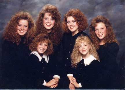 Girls With Perms. Mom made us all get perms