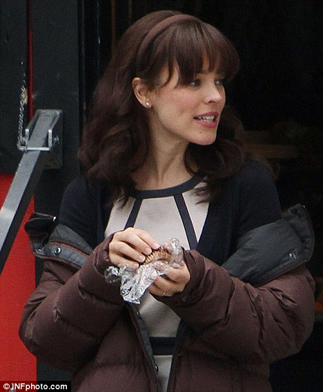Darker by day: Rachel McAdams on the set of The Vow wearing a dark wig on ...