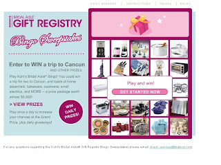the knot along with kohls are sponsoring a contest called bridal aisle gift registry bingo sweepstakes you can win a variety of home essentials or even