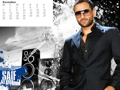 Saif Ali Khan December2009 Desktop Calendar, Bollywood Actors 2009