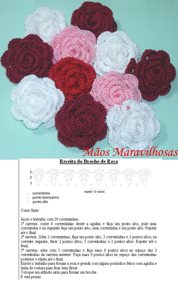 цветок вязаный крюком Роза