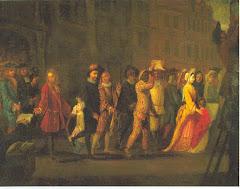 Partida dos farsantes italianos de Paris. Watteau