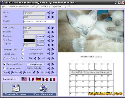 Gambar background / latar belakang kalender bisa diganti dengan gambar ...