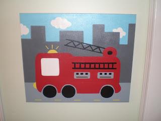 fire truck custom canvas art boys children