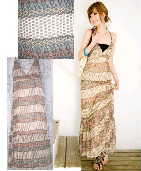 Maxi long Deep V-Neck dress without inner tube - RM 45.00