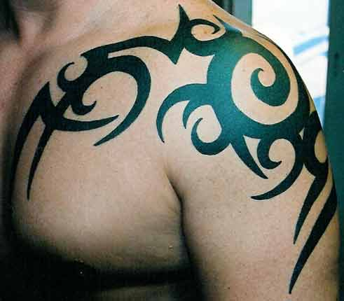 tribal tattoo shoulder and chest