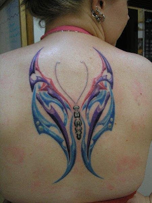 Back Body Girls With Triball Butterfly Tattoo Design