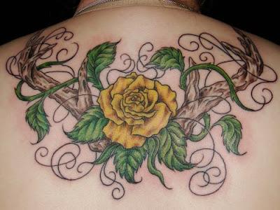 Rose Flower Tattoo Design on Back Body