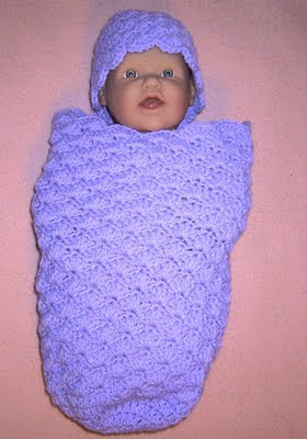 Free Crochet Pattern Baby Sleeping Bag : Shell Sleep Sack and Cap Free Crochet Pattern from the ...