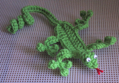 Lion Brand Crochet Gecko Bookmark
