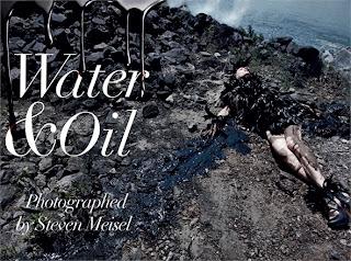 Água e óleo, um editorial da Vogue Itália de agosto