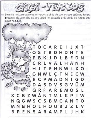 VERBO+ +CA%C3%87ADA Caça palavras verbos para crianças