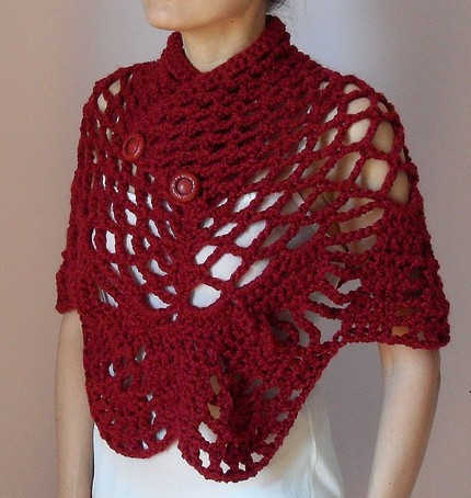 SILVIA66: Cranberry Red Crochet Capelet