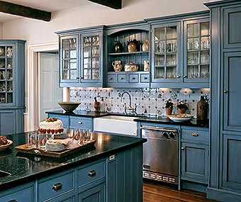 The Home Features A Soft Blue Kitchen Though Not My Taste It Is An