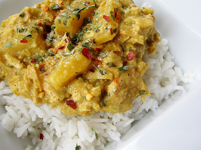 slow cooker coconut chicken curry with pineapple | Sweet Anna's