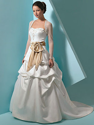 Wedding Gown of Silk and Leather accents