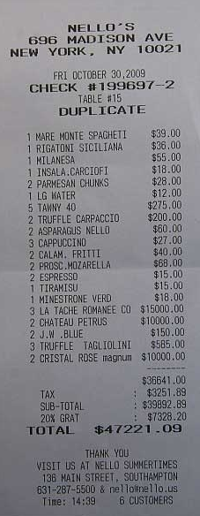 What Ultra Rich Eat? An Actual Lunch Receipt for Total of $47,221!