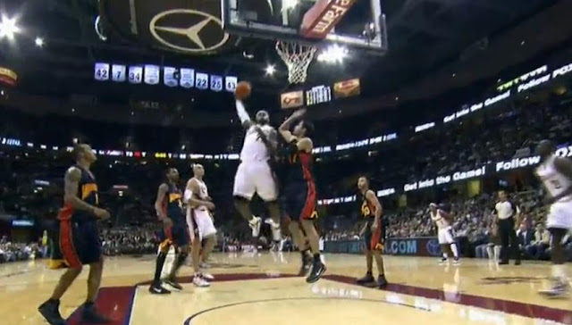 LeBron James Cut Into Center For Slam