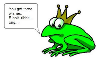 A cartoon frog saying 'You got three wishes. Ribbit.'